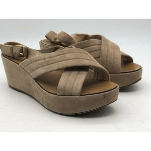 J Crew Marcie Tan Soft Suede Wedge Sandals